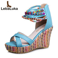Tuyoki Size 33 43 Women High Wedges Sandals Shoes Women Beading Ankle Strap Sandals Rainbow Color Women Bohemia Beach Sandals