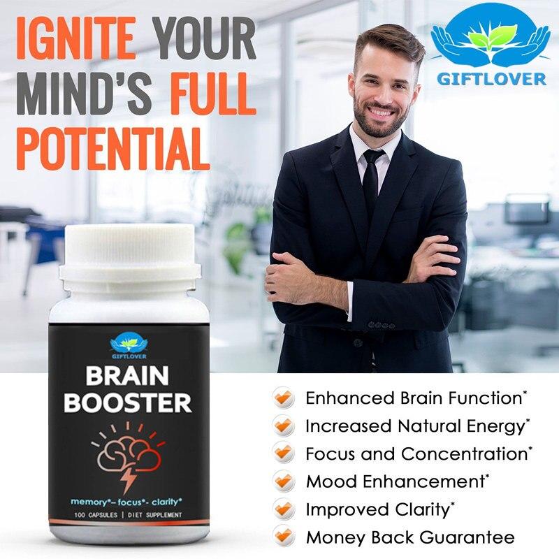 Cerveau Booster pour Prime Le Fonctionnement Du Cerveau, Soutient Mémoire avec Focus & Clarté, Formule pour Une Performance Optimale, ginkgo Biloba, DMA