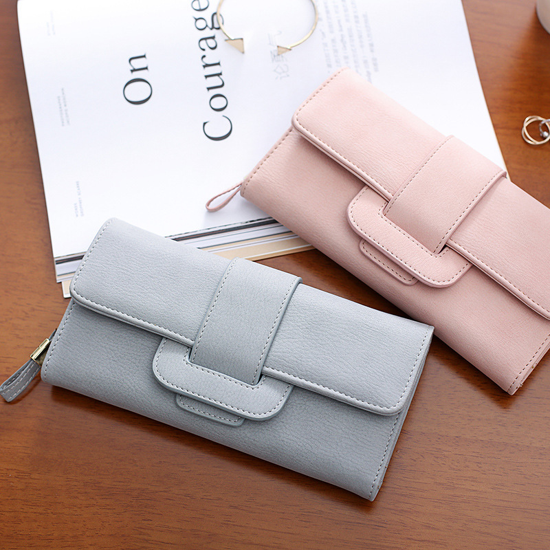 2017 Fashion Brand Casual Solid Long Women Purses PU Leather Hasp Coin Card Holder Soft Female Wallet For Credit Cards Handbag casual weaving design card holder handbag hasp wallet for women