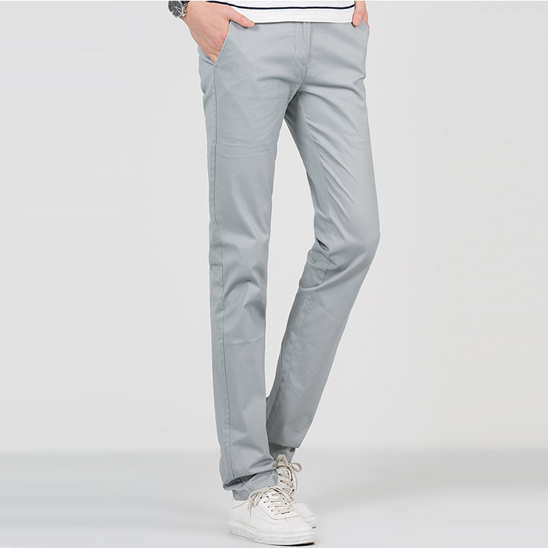 Fashion brand designer casual grey cotton pants for men slim fit fashion brand designer casual grey cotton pants for men slim fit leggings pants chino classic straight skinny trousers 2w61u214 in casual pants from mens sciox Images