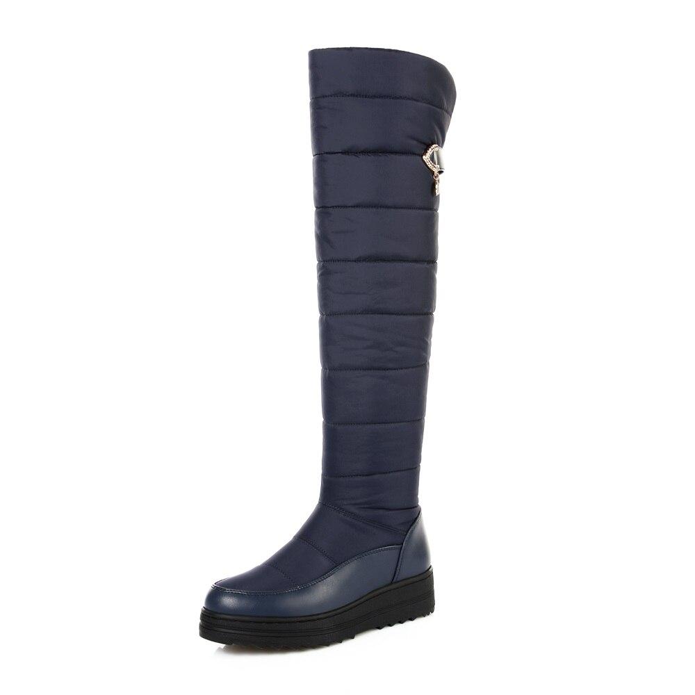 ASUMER 2018 neuf de haute qualité vers le bas chaud neige bottes femmes bout rond plate-forme cuisse haute bottes de mode fermeture éclair sur la genou bottes - 3