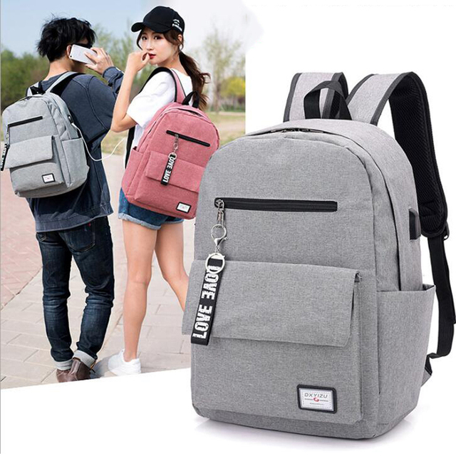 Casual Large Capacity School Student Bag With USB Charging Men Light Travel  Backpack Hanging Strap Decorate Backpack For Girls 8945fb9771fb2