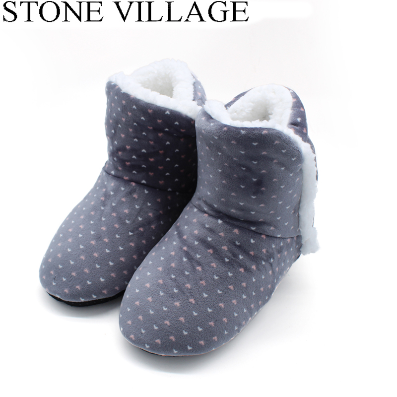 STONE VILLAGE Free Size Polka Dot Plush Home Slippers Indoor Shoes Women Winter Slippers Women 2