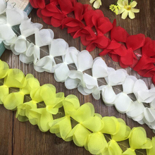 9Yards Lovely Chiffon Three-dimensional Lace Trim Flowers Ribbon White Red Yellow Fabric DIY Clothes Accessories
