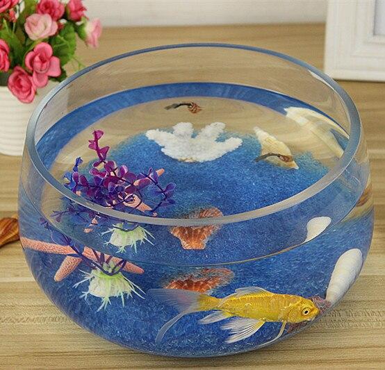 Creative Eco Round Glass Aquarium Goldfish Bowl Large Turtle Tank