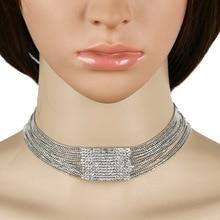 Full Crystal necklaces & pendant Choker Necklace women 2017 Fashion Wedding Party Christmas Sexy chocker Statement anime kolye