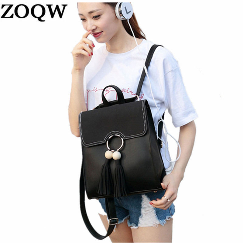 Zoqw Fashion School Style Backpacks Women's Backpack Bags For School Teenage Grils Female Ladies' Pu Leather Bag Lwl018