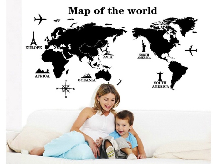 quality modern world map wall stickers stencil black pvc mural decals man home living room office school classroom decor in wall stickers from home garden
