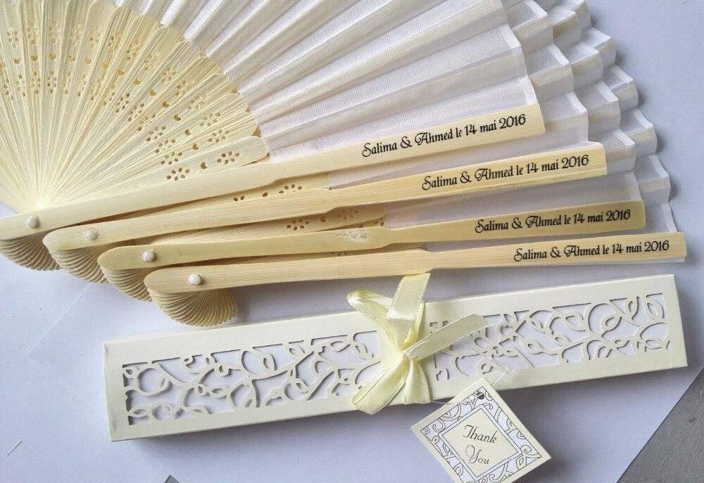 100 stks/partij Gepersonaliseerde Luxe Zijde Vouw hand Fan in Elegant Laser Uitgesneden Geschenkdoos + Party Gunsten/geschenken + afdrukken-in Kommetjes van Huis & Tuin op  Groep 1