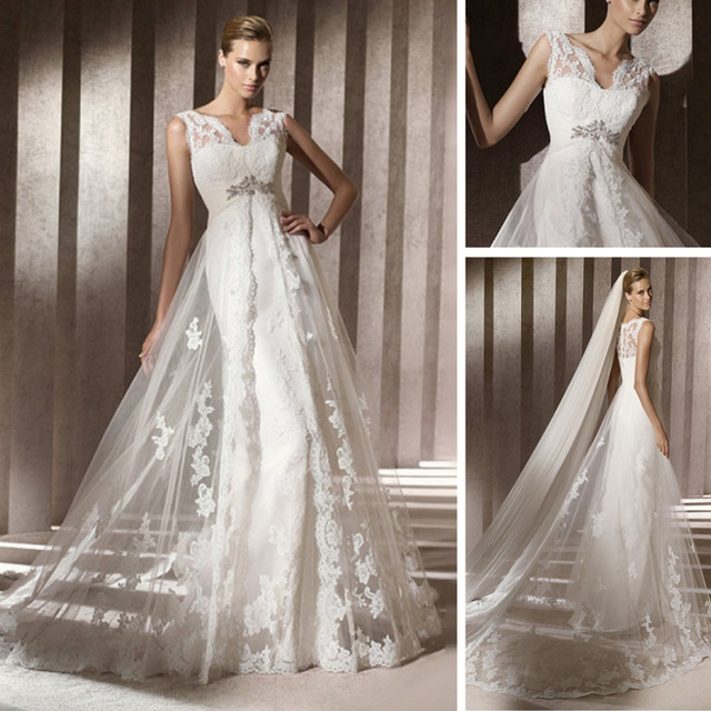 Spanish Wedding Dresses: Modern Design Lace Casual Beach Spanish Style Front Slit