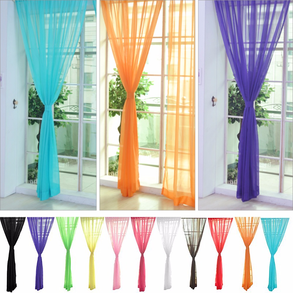 Bedroom curtain track - 1pc New Candy Color Window Screens Living Room Bedroom Blackout Curtains Solid Transparent Gauze Tulle Princess Style 229315