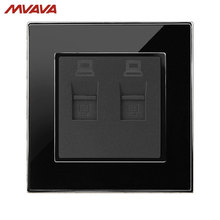 MVAVA Double PC LAN Wall Decorative Socket Dual Computer Jack Plug Universal Receptacle Luxury Mirror Black Panel Free Shipping