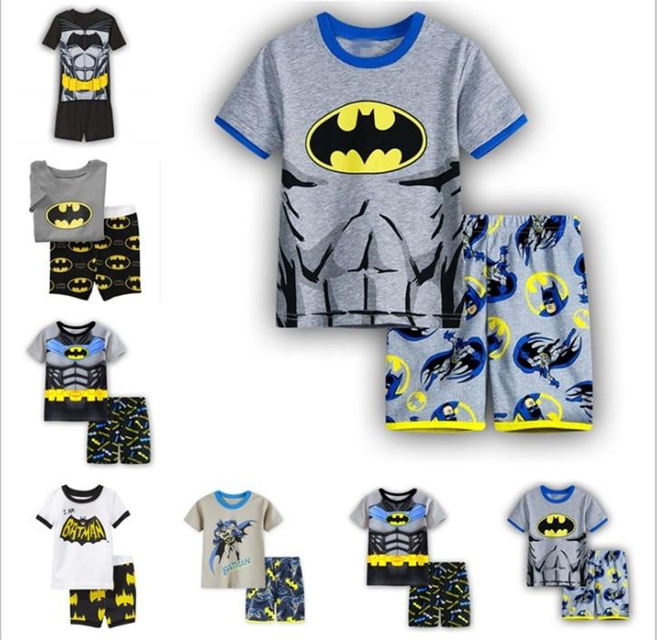 Hot New Boy girls pyjamas summer cotton kids clothes girls   set   short sleeve clothes   sets   Batman spiderman Iron Man Short sleeve