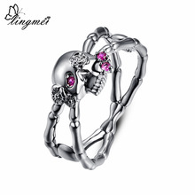 Lingmei Wholesale New Fashion Punk Style Skull Rings Mens Womens Zircon Jewelry Silver Black GoldPlated Ring Size 6-9