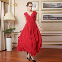 VOA Silk Red Sexy Women Vintage Dresses Elegant Solid Short Sleeves Special Design V-Neck Draped Maxi Vestidos Female A7698