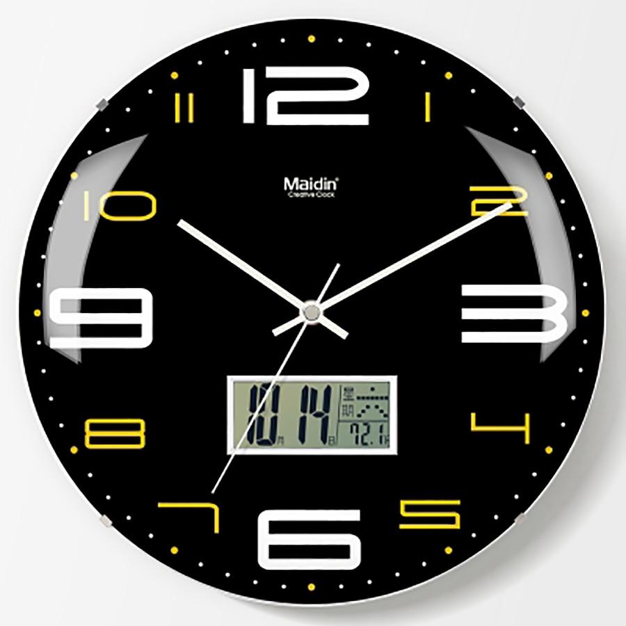 Round Living Room Wall Clock Lcd Quartz Creative Modern ...
