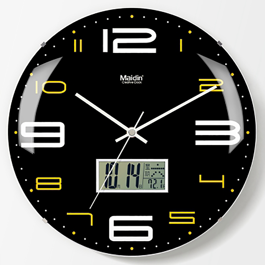 Round Living Room Wall Clock Lcd Quartz Creative Modern Silent Large Digital Wall Clock Best Selling 2018 Products 50A0166
