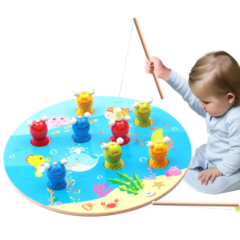 Ocean Jigsaw Puzzle 3D Youngsters Fishing Sport Picket Board Combo Magnetic Rod Toy eight Fish 2 Fishing Rods New Arrival Fishing Toys
