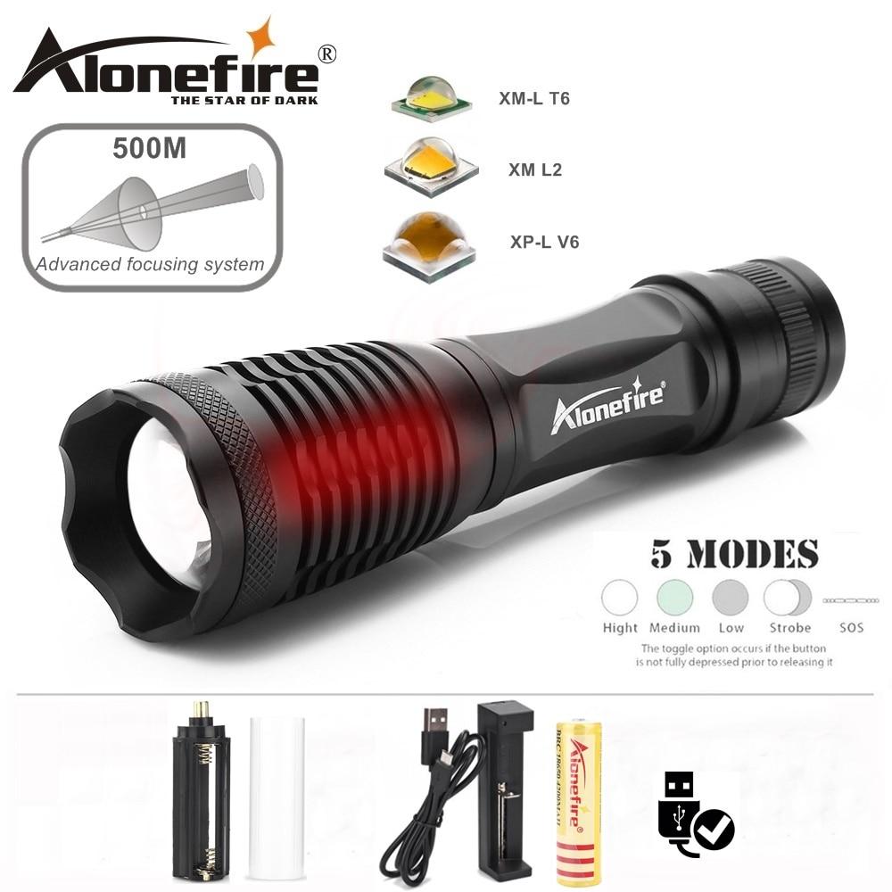 Alonefire E007 CREE XM-L2 LED 5Mode Aluminum high power Zoom Flashlight Torch spot light lamp AAA 18650 rechargeable battery J5