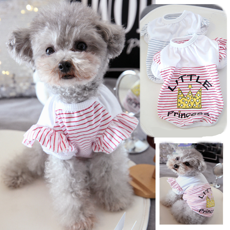 Stripe Princess Dog Clothes For Small Dogs Girl Red Blue Summer Pet T Shirt XS XL Cat Coat Vest For Puppy Animal Poodle Supplies