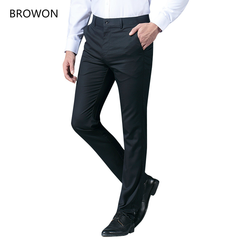 BROWON Good Quality Men Straight Suit Pants Summer 2020 Formal Wear Casual Trousers Male Suit Pants Men Polyester Suits Trousers
