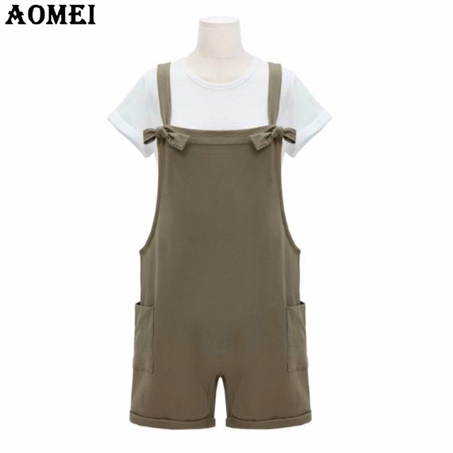8aef5c04414 Women Summer Khaki Rompers Junior Girls Preppy Style Causal Clothing  Rompers Bodysuits Overall Plus Size