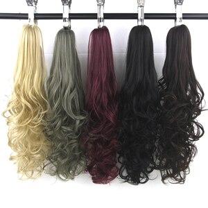 Soowee 24 polegada longa loira vermelha ondulado pônei cauda fibra de alta temperatura garra peruca extensões do cabelo sintético rabo de cavalo