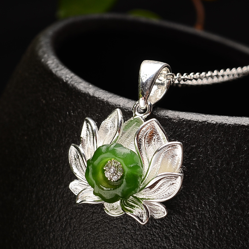 S925 silver  lotus pendant female of literary floret silver pendant new products wholesale giftS925 silver  lotus pendant female of literary floret silver pendant new products wholesale gift