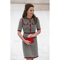 Kate Middleton Tweed Women Dress Vestidos Thick Thread Houndstooth Patchwork Dresses Round Neck Short Sleeve Slim Dress Female