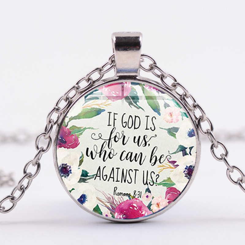 SIAN Moda Colar Retrato Da Arte Salmo 3D Impresso Cabochon De Vidro Pingente Colar Citação do Verso Da Bíblia de Presente Da Jóia para o Cristão