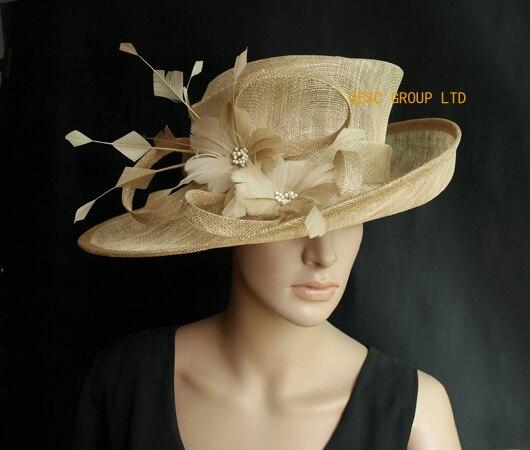 NEW Beige Wide brim Church Sinamay women s hat panama Fascinator for Derby 2f0a02b6ecde