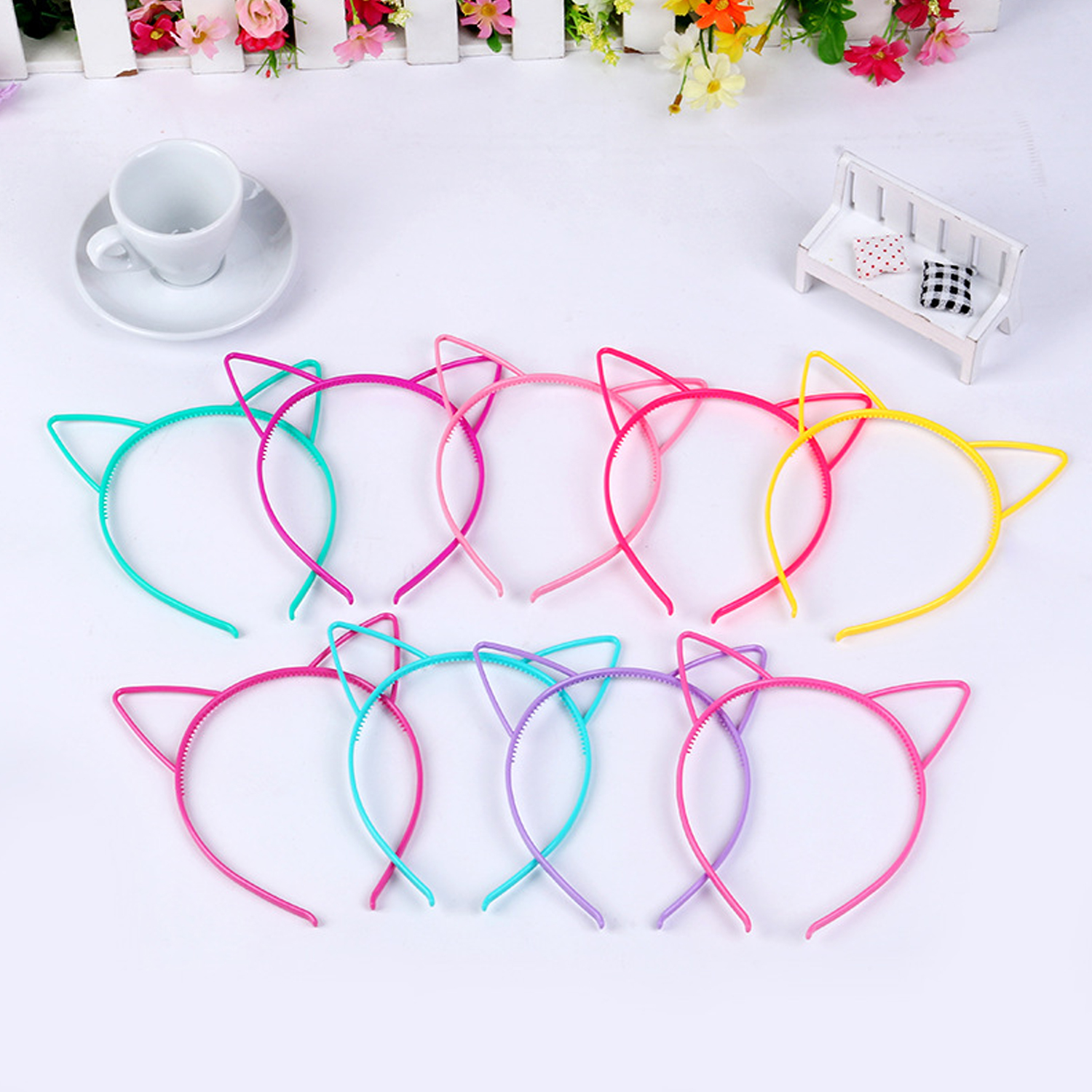 Besegad 14PCS Colorful Plastic Fashion Cute Cat Ear Headbands Headwear Toy Gift For Kids Adults Easter Halloween Christmas Party