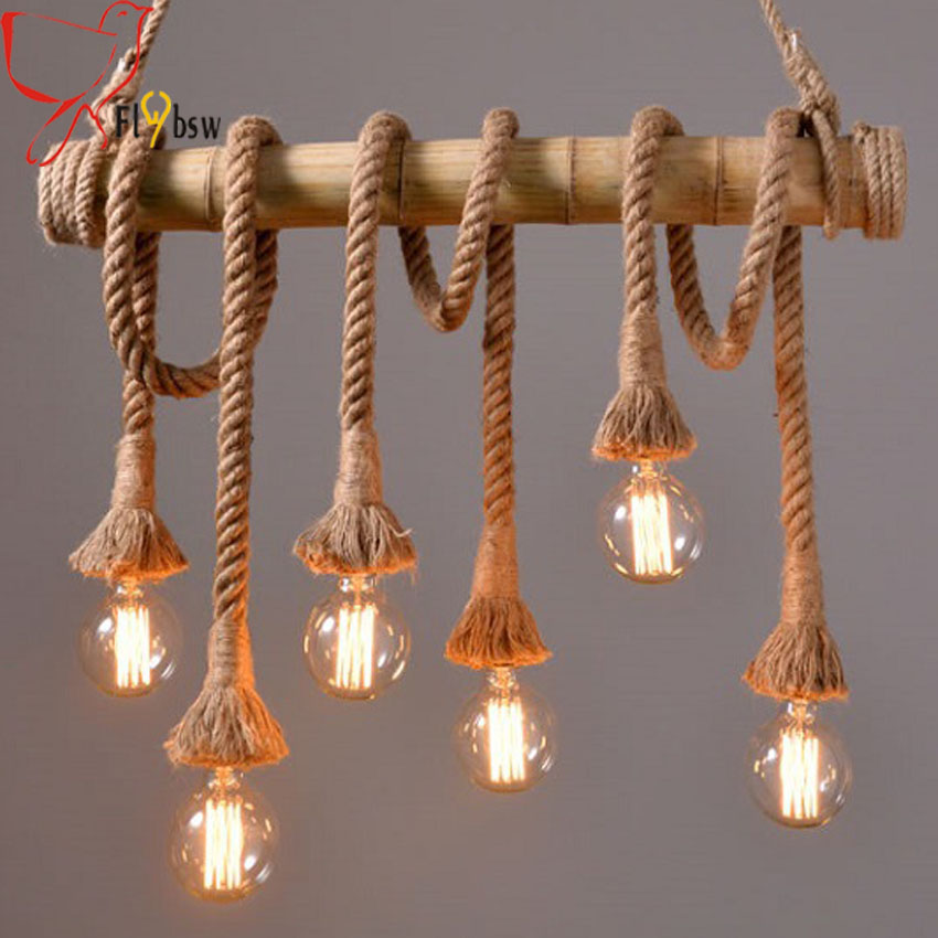 Vintage hemp rope Pendant Light 3 6 heads Countryside Style Bamboo droplight for Restaurant Dining Industrial