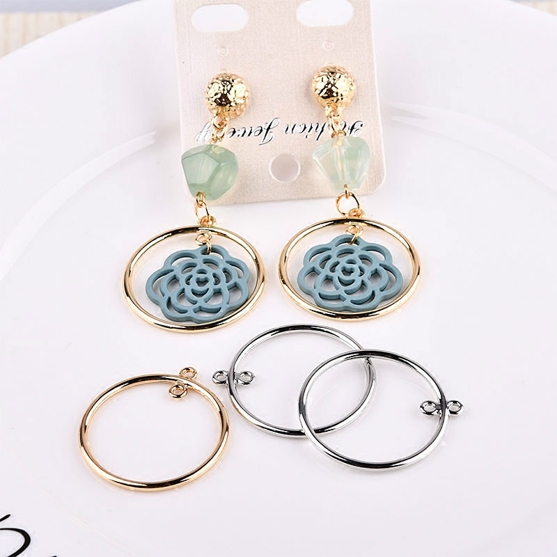 The Korean Minimalist Double Circular DIY Alloy Electroplating Circle Earrings Earrings Handmade Accessories Package