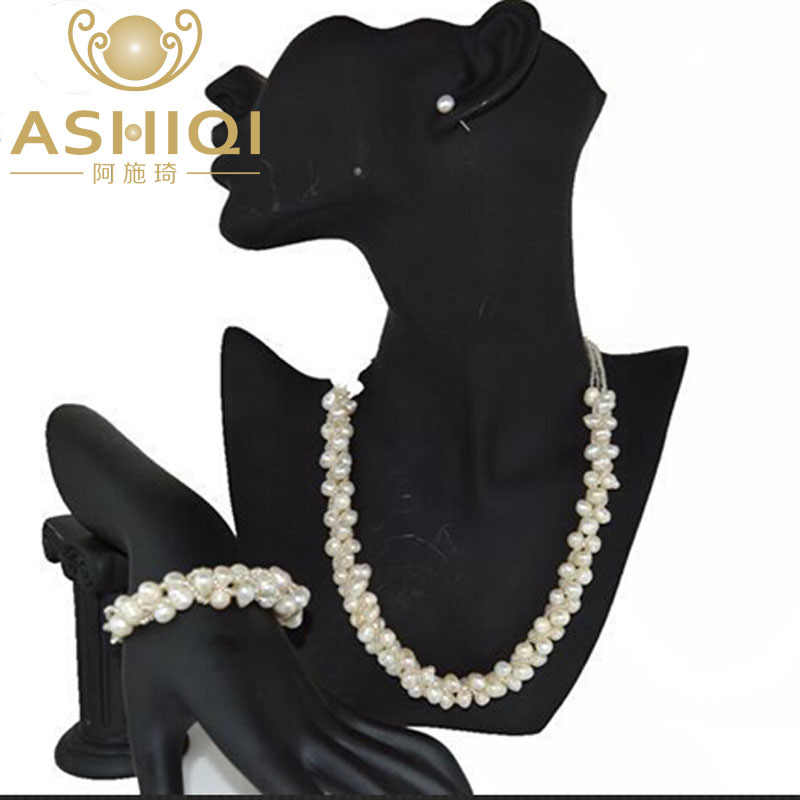 ASHIQI 100% Freshwater pearl Necklace bracelet stud Earring Jewelry Sets For Women