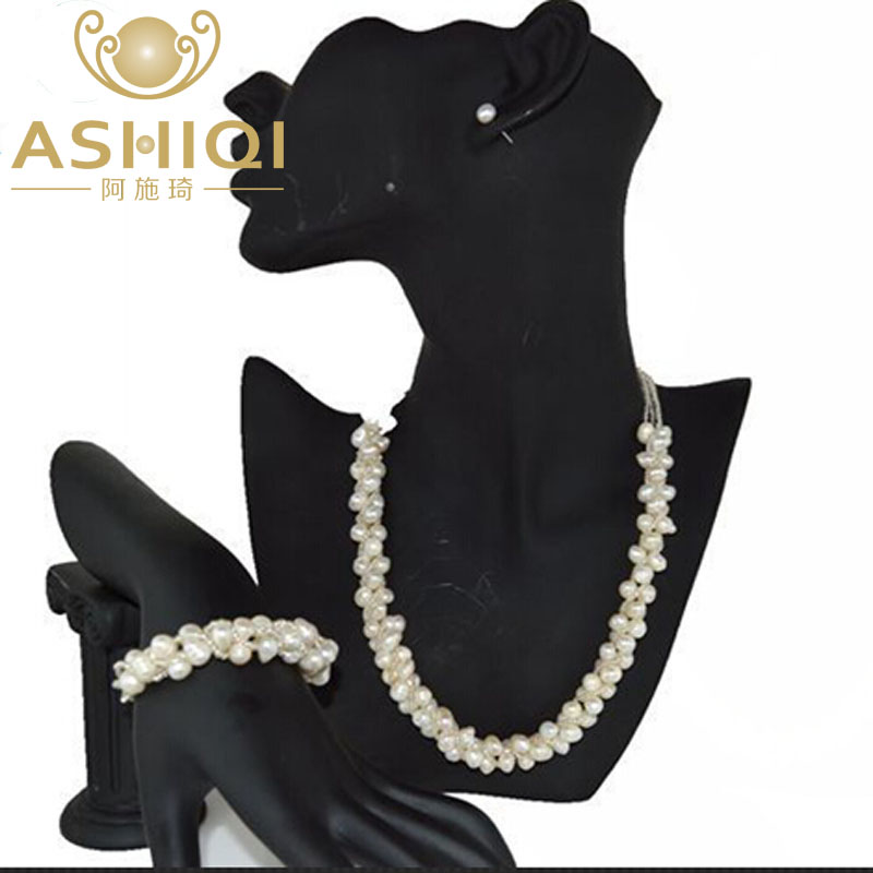 ASHIQI 100% Freshwater pearl Necklace bracelet stud Earring Jewelry Sets For WomenASHIQI 100% Freshwater pearl Necklace bracelet stud Earring Jewelry Sets For Women