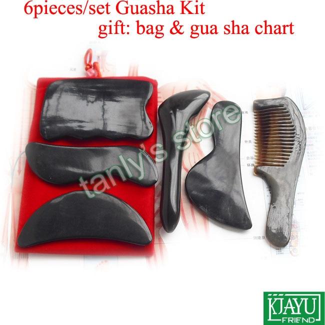 6pcs/set Traditional Acupuncture Massage tool Guasha set 100% Ox Horn (gift beauty bag & gua sha chart)