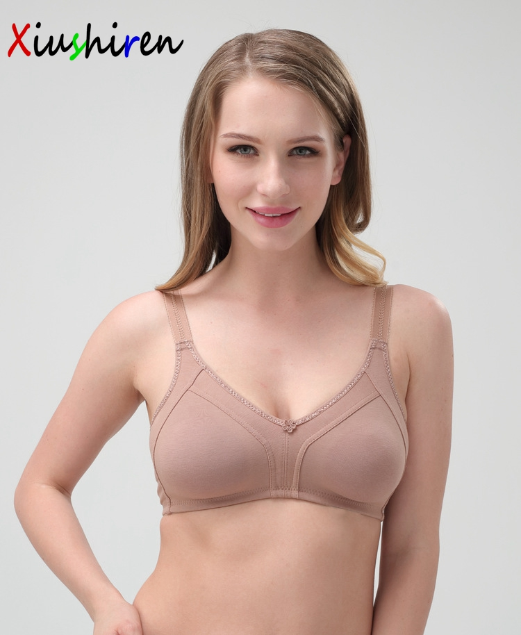 Middle & Old Women Soft Bra Top 3 Hook And Eye Full Coverage Wire free Bra Nude Black,White unpadded plus size 38-48 C D E bh Z1