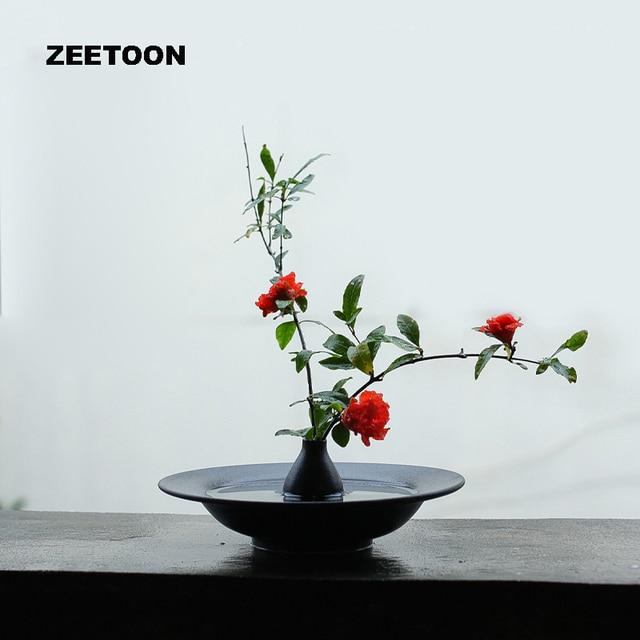 Zen Japanese Flower Arrangement Ikebana Vase Soft Fitted Ceramic Frosted Black Pottery Flower