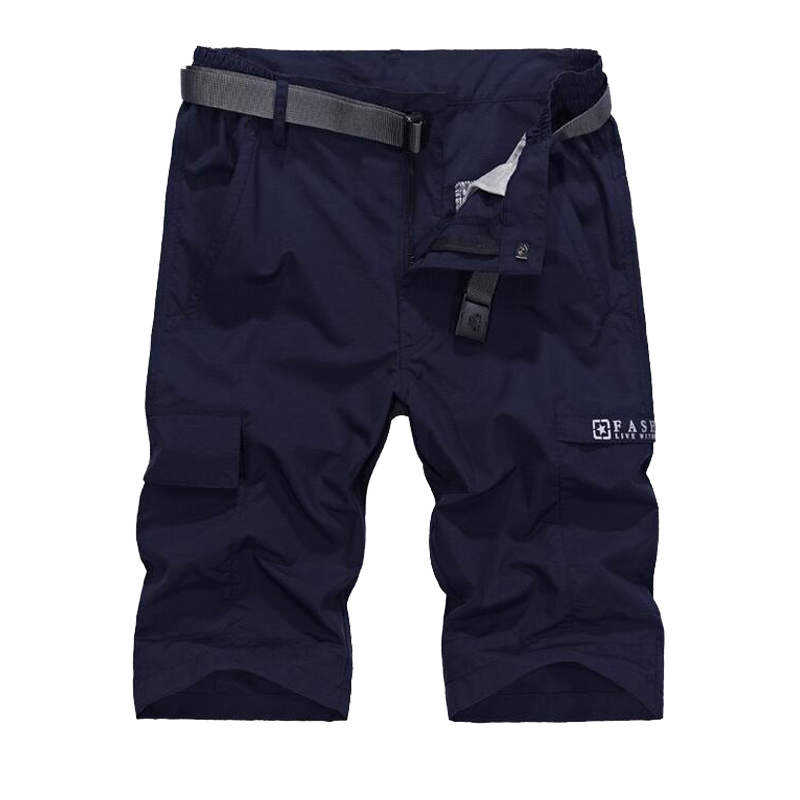 2018 Waterproof Military Cargo Shorts Men Summer Quick Dry Loose Male Short Pants Thin Material Male Short Masculino WIth Belt