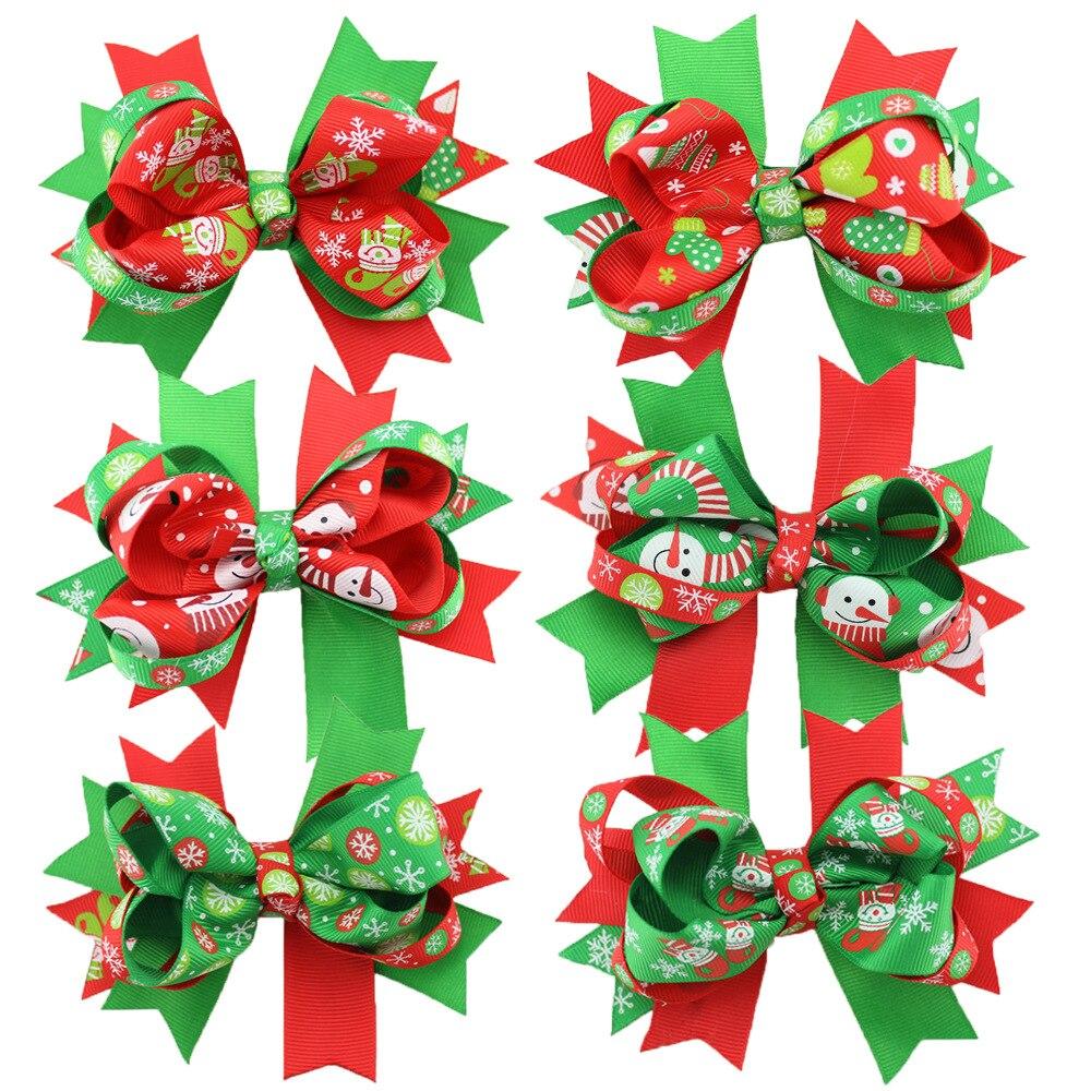 b896928b68f89 Mignon enfants De Noël arc cheveux Alligator barrettes épingle à cheveux  clips pour bébé fille femmes Bowknot Queue de Cheval cheveux accessoires 12  pcs lot