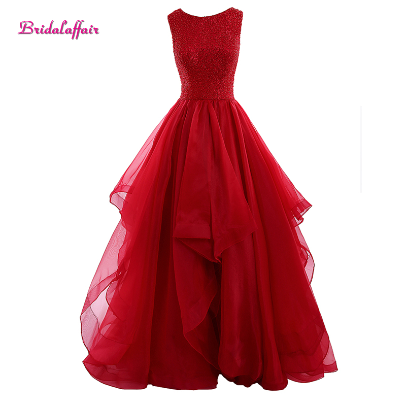 Red Organza Evening   Dress   O Neck Ball Gown   Prom     Dresses   2019 Sleeveless Backless Evening Gown Court Train Party   Dress