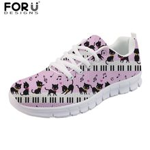 FORUDESIGNS Piano with Music Note Casual Brand Women Flats Shoes Autumn Ladies Lovely Cat Prints Comfortable Mesh Women's Shoes(China)