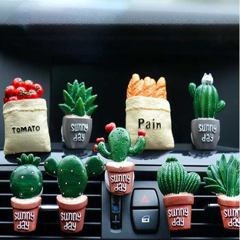 1 PCS 3D Air Freshener Solid Cartoon Plants vegetables Car Styling Air Conditioning Vent Movable Flavoring Cute Car parfums