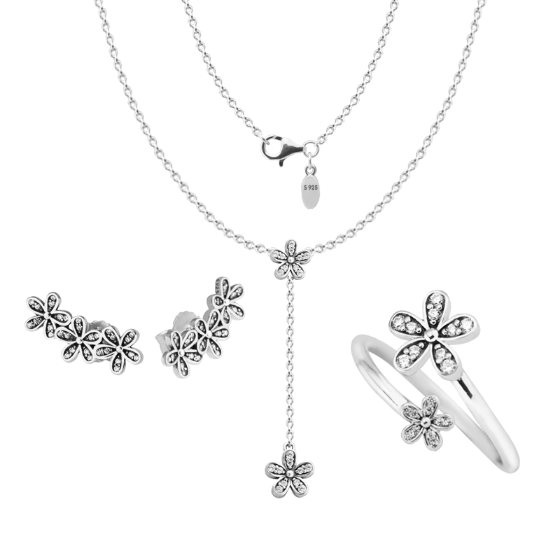 100% 925 Sterling Silver Dazzling Daisies Ring Necklace Stud Earrings Bridal Jewelry Set for Women DIY Fine Jewelry PJS034 tardoo 925 sterling silver stud earrings for women alphabet faith typeface dazzling sparking brand fine jewelry new arrival