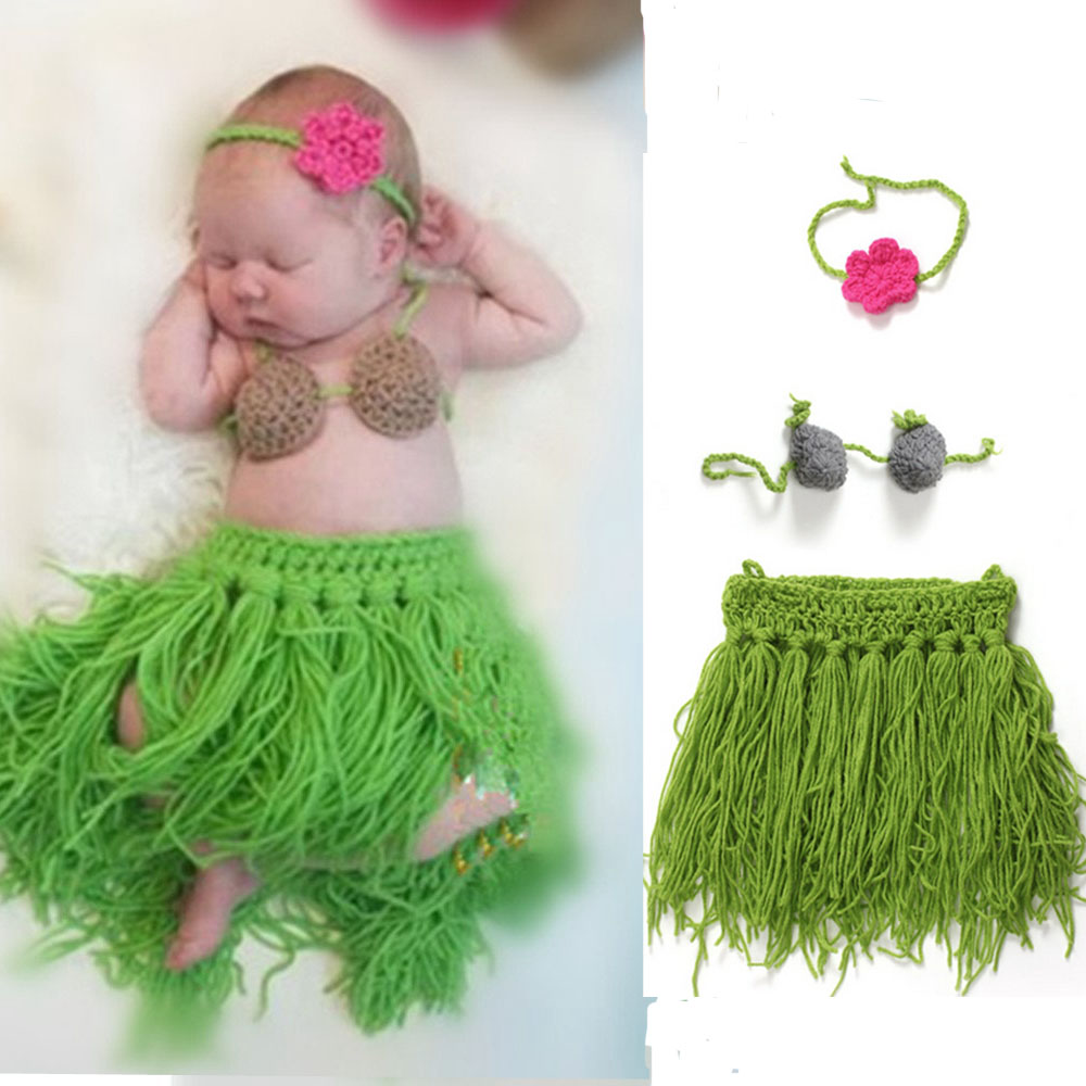 Cartoon Hula Girls Style Handmade Crochet Newborn Cowboy Photo Prop Baby Photography Props Set KXBBBP035