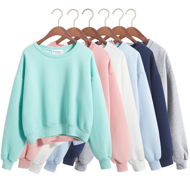 2017 de Corea Del Otoño Streetwear Dulces Macarons Kpop Mujeres Chándales Sudaderas con capucha de Cachemira Recortada Sudadera Crop Tops 6 Color