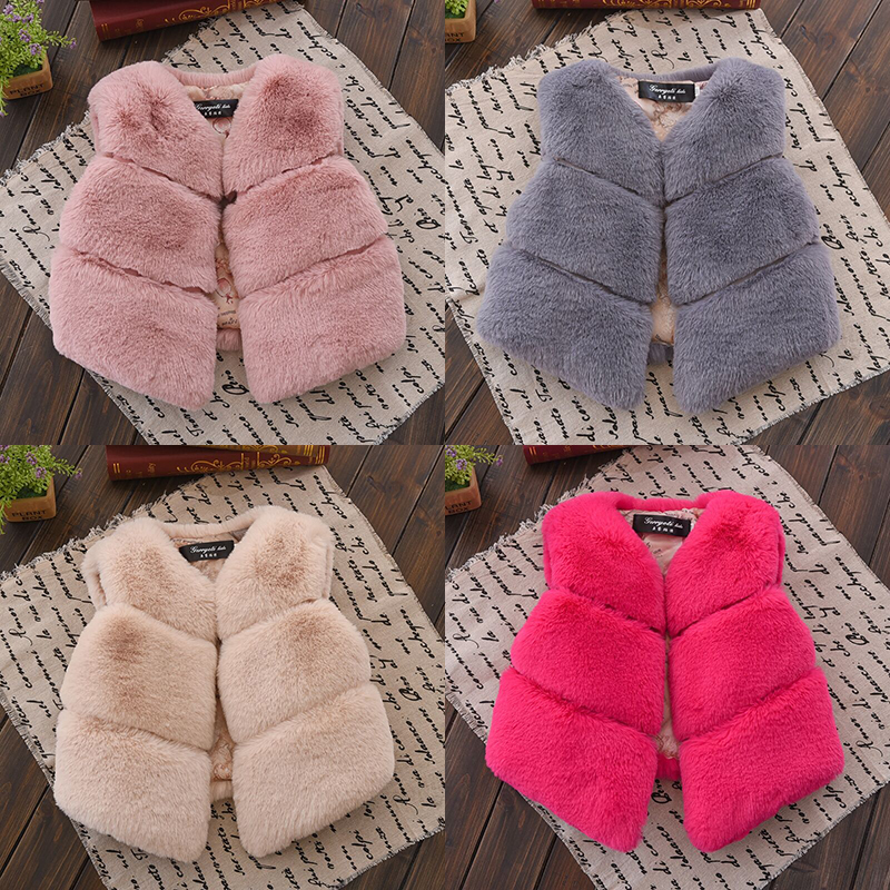 2018 Winter Girls Faux Fur Vests Solid Children Fur Vest Coats Warm Waistcoat Kids Sleeveless Jackets Baby Girl Winter Clothes open front faux fur embellished sleeveless cardigan
