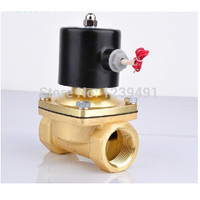 2 way DN40 DN50 brass Electric Solenoid Valve 1 1/2 2 AC220V DC12V DC24V normally closed for Water Oil Gas