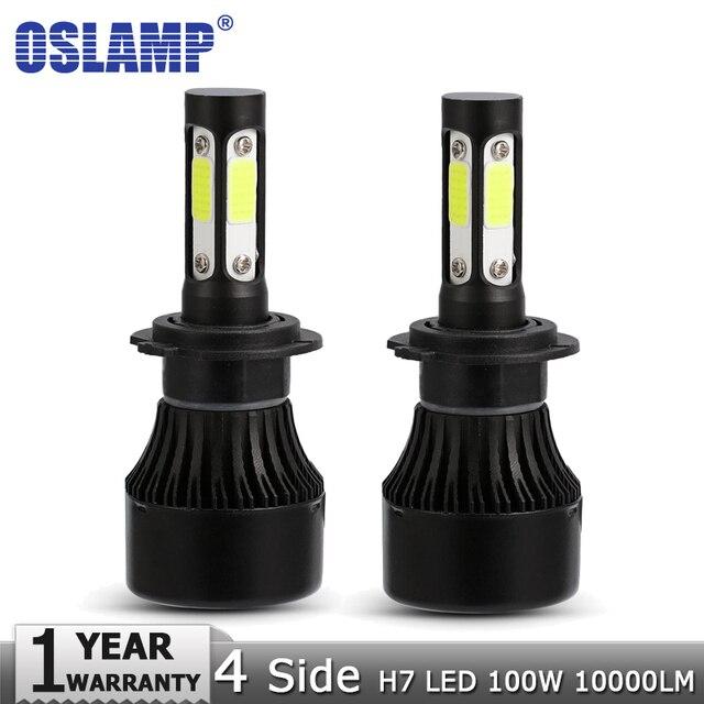 Oslamp 4 strony chipy COB H7 samochodów LED żarówki reflektorów 100 w/zestaw 10000lm Auto reflektor światła LED 12 v 24 v dla Toyota Renault Hyundai